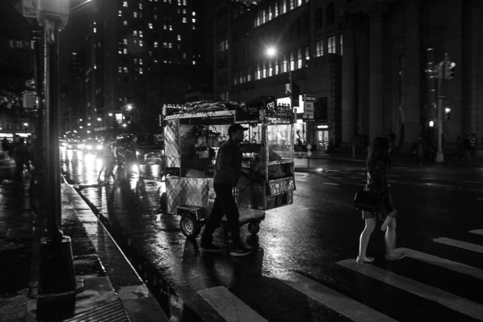 Coffee cart at night