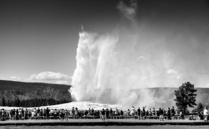 Old Faithful in mid-eruption